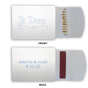 Personalized Stardream Crystal White Classic Matchbox with Satin French Blue Foil Color has a Je Taime graphic and is good for use in Words themed parties and can be customized to complement every last detail of your party.