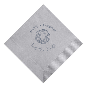 ForYourParty's elegant Dove Gray Cocktail Napkin with Matte Navy Foil has a Rope Knot graphic and is good for use in Beach/Nautical, Frames themed parties and can be personalized to match your party's exact theme and tempo.