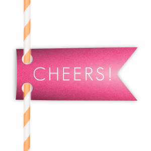 This festive custom Poptone Peach Double Point Straw Tag with Matte White Foil features a Cheers graphic designed by Martha Stewart Weddings and will look fabulous at your next party. Your guests will agree!