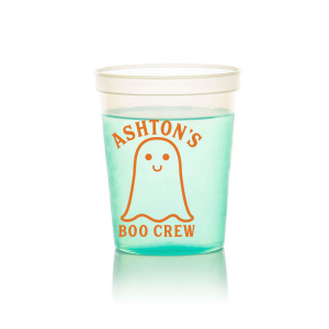 Our custom Ivory 16 oz Stadium Cup with Matte Tangerine Ink has a Baby Ghost graphic and is good for use in Halloween themed parties and will give your party the personalized touch every host desires.