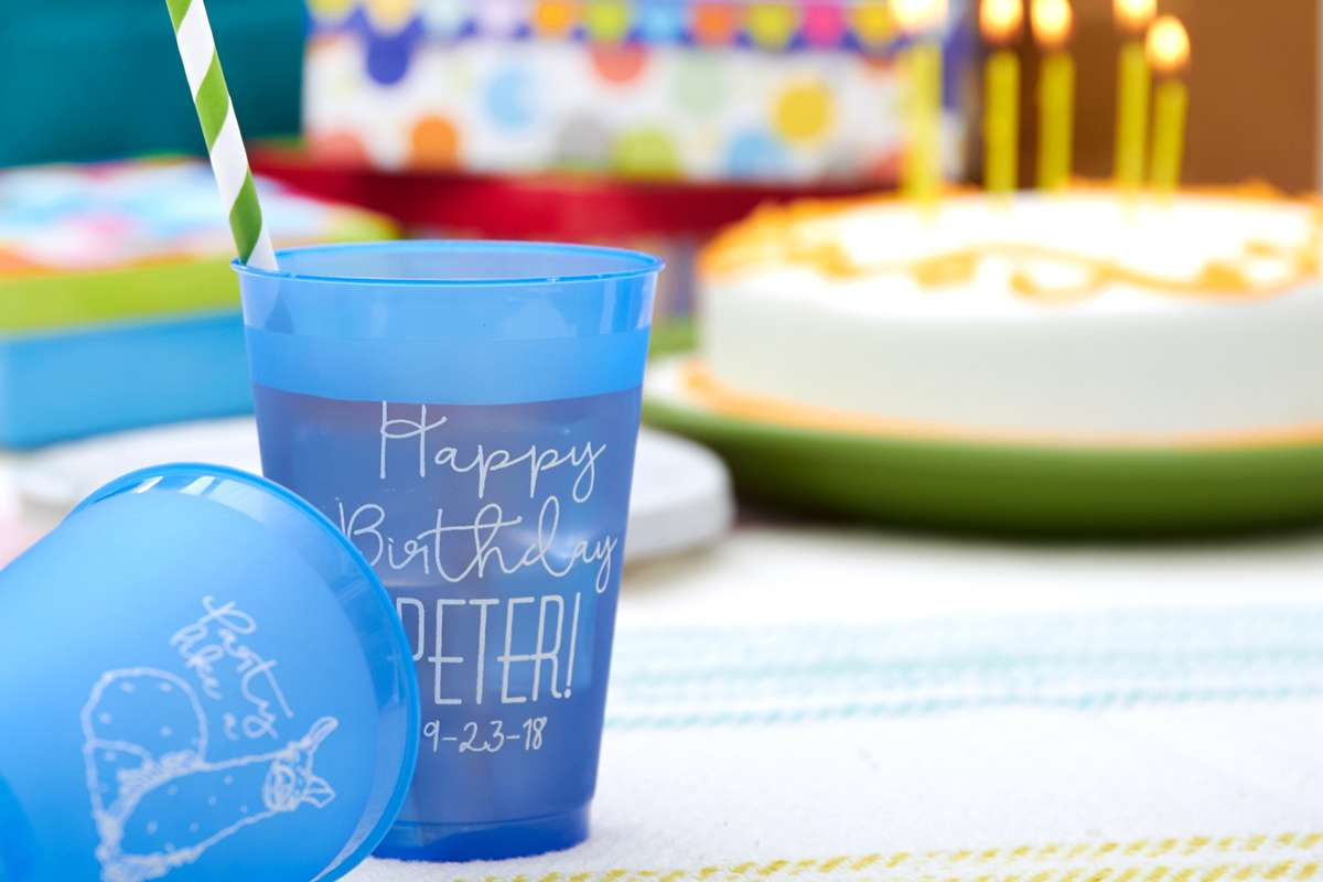 custom designed birthday party cups