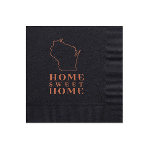 ForYourParty's chic Black Guest Towel with Satin Copper Penny Foil has a Wisconsin graphic and is good for use in States themed parties and will add that special attention to detail that cannot be overlooked.