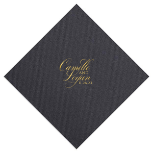 Our custom Super Gold Cocktail Napkin with Matte Navy Foil will give your party the personalized touch every host desires.