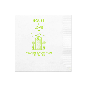 The ever-popular Pistachio Guest Towel with Shiny Kiwi / Lime Foil has a Door graphic and is good for use in Home themed parties and will impress guests like no other. Make this party unforgettable.