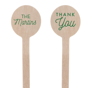 Our custom Satin Leaf Round Stir Stick with Satin Leaf Foil has a Thank You graphic and is good for use in Wedding, Words, Anniversary themed parties and will look fabulous with your unique touch. Your guests will agree!