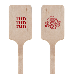 ForYourParty's personalized Shiny Convertible Red Round Stir Stick with Shiny Convertible Red Foil has a Rose 4 graphic and is good for use in Floral themed parties and are a must-have for your next event—whatever the celebration!