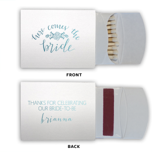 The ever-popular Stardream Crystal White Classic Matchbox with Shiny Turquoise Foil Color has a Here Comes the Bride 3 graphic and is good for use in Words themed parties and couldn't be more perfect. It's time to show off your impeccable taste.