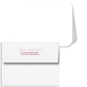 ForYourParty's personalized Stardream Shimmer Fuchsia Note Card with Envelope with Matte White Foil has a Donut graphic and is good for use in Food and Birthday themed parties and can't be beat. Showcase your style in every detail of your party's theme!
