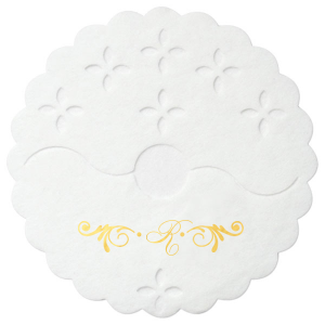 Custom White Stem Wrap with Shiny 18 Kt Gold Foil Color has a Decorative Flourish graphic and is good for use in Accents themed parties and will give your party the personalized touch every host desires.