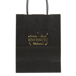 Personalized Black Lunch Bag with Shiny 18 Kt Gold Foil can be personalized to match your party's exact theme and tempo.