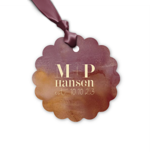 Our personalized Watercolor Sangria Round Gift Tag with Matte Ivory Foil can be customized to complement every last detail of your party.