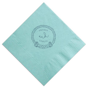 The ever-popular Tiffany Blue Cocktail Napkin with Matte Navy Foil has a Rope Frame graphic and is good for use in Frames themed parties and can be personalized to match your party's exact theme and tempo.