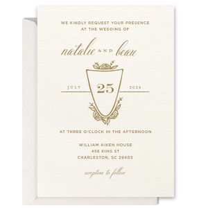 ForYourParty's chic Lettra Pearl White 110lb Invitation with Satin 18 Kt. Gold Foil has a Crest Rose graphic and is good for use in Bridal, Floral, Wedding themed parties and couldn't be more perfect. It's time to show off your impeccable taste.