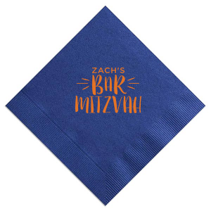 Personalized Light Navy Cocktail Napkin with Matte Tangerine Foil Color will add that special attention to detail that cannot be overlooked.