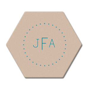 Our beautiful custom Kraft w/ Blush back Hexagon Coaster with Satin Teal / Peacock Foil has a Dotted Frame 2 graphic and is good for use as accent decor and will give your party the personalized touch every host desires.