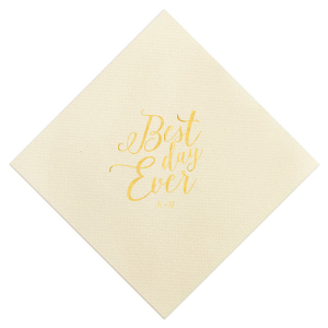 Custom Ivory Cocktail Napkin with Shiny 18 Kt Gold Foil are a must-have for your next event—whatever the celebration!