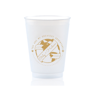 The ever-popular Gold Ink 10 oz Frost Flex Cup with Gold Ink Cup Ink Colors has a World Badge graphic and is good for use in Wedding, Baby Shower, Travel themed parties and will impress guests like no other. Make this party unforgettable.