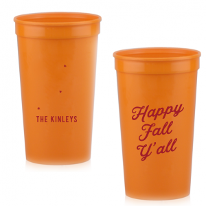 ForYourParty's elegant Orange 16 oz Stadium Cup with Matte Red Berry Ink Cup Ink Colors has a Tree RSVP graphic and is good for use in Lovely Press themed parties and will give your party the personalized touch every host desires.