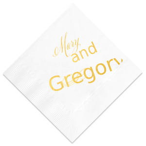Our custom Woven White Woven Cocktail Napkin with Shiny 18 Kt Gold Foil has a Flourish 5 graphic and will add that special attention to detail that cannot be overlooked.