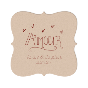 Custom Silver with Black back Nouveau Coaster with Matte Merlot Foil Color has a Amour graphic and is good for use in Words themed parties and couldn't be more perfect. It's time to show off your impeccable taste.