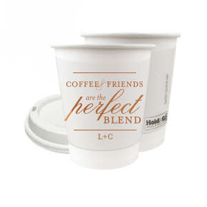 ForYourParty's personalized Copper Ink 12 oz Paper Coffee Cup with Lid with Copper Ink Cup Ink Colors has a Venn Diagram Frame graphic and is good for use in Brunch, Wedding, Hearts themed parties and couldn't be more perfect. It's time to show off your impeccable taste.