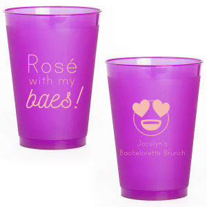 The ever-popular Purple 12 oz Frost Flex Color Cup with Matte Pastel Pink Ink Cup Ink Colors has a Heart Eyes graphic and is good for use in Symbols, Hearts themed parties and are a must-have for your next event—whatever the celebration!