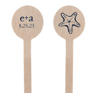 The ever-popular Matte Navy Round Stir Stick with Matte Navy Foil has a Starfish graphic and is good for use in Beach/Nautical themed parties and can be personalized to match your party's exact theme and tempo.