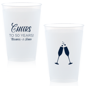 The ever-popular Matte Navy Ink 12 oz Frost Flex Cup with Matte Navy Ink Screen Print has a Flutes 2 graphic and is good for use in Drinks, Wedding, Holiday themed parties and will give your party the personalized touch every host desires.