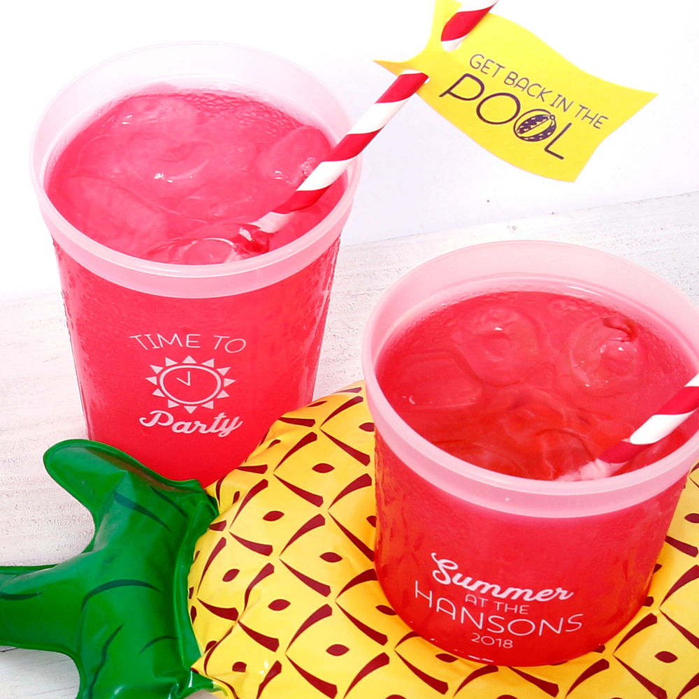pool party ideas with personalized party cups and pool doozies