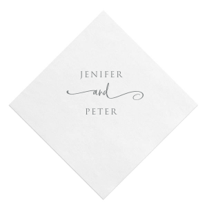 ForYourParty's personalized White Quick Ink Printed Cocktail Napkin with Matte Slate Gray Ink Digital Print Colors are a must-have for your next event—whatever the celebration!