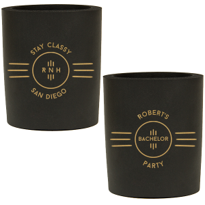 Custom Black Round Can Cooler with Gold Ink Screen Print and Silver Ink Screen Print has a Cigar Frame graphic and is good for use in Bachelor, Birthday and Milestone themed parties and can be personalized to match your party's exact theme and tempo.