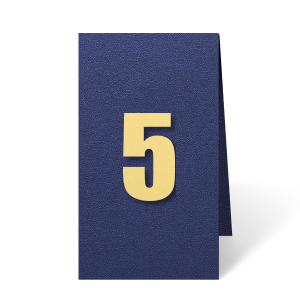 ForYourParty's elegant Stardream Navy Euro Table Number with Poptone Mimosa Number Paper Color will make your guests swoon. Personalize your party's theme today.