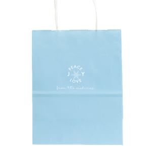 Our custom Sky Blue Gift Bag with Matte White Foil Color has a Snowflake graphic and is good for use in Winter, Holiday, New Years and Christmas themed parties and are a must-have for your next event—whatever the celebration!