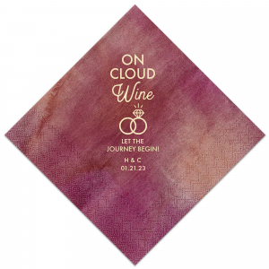 Personalized Watercolor Sangria Cocktail Napkin with Matte Ivory Foil has a Wedding Rings 2 graphic and is good for use in Wedding themed parties and can't be beat. Showcase your style in every detail of your party's theme!