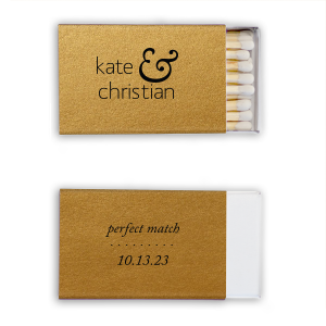 ForYourParty's personalized Stardream Old Gold Classic Matchbox with Matte Black Foil will make your guests swoon. Personalize your party's theme today.