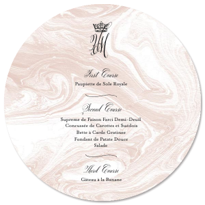 Our personalized Marble Blush Circle Menu with Matte Black Foil has a Crown graphic and is good for use in Royal and Formal parties and Weddings and will add that special attention to detail that cannot be overlooked.