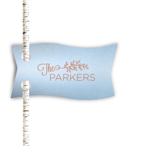ForYourParty's chic Stardream Sky Blue Rectangle Straw Tag with Satin Copper Penny Foil has a LeafFrameRSVP graphic and is good for use in Lovely Press, Frames themed parties and will give your party the personalized touch every host desires.