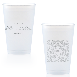 Our beautiful custom Matte Slate Gray Ink 14 oz Frost Flex Cup with Matte Slate Gray Ink Cup Ink Colors has a Linear Floral Frame 2 graphic and is good for use in Frames, Floral, Wedding themed parties and can't be beat. Showcase your style in every detail of your party's theme!