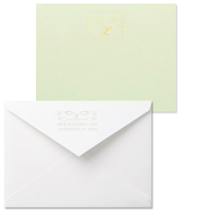 Custom Poptone Mint Grande Card with Shiny 18 Kt Gold Foil and Shiny Green Tea Foil has a Flourish Thank You graphic and a Flourish Accommodations graphic and is good for use in Lovely Press themed parties and can be personalized to match your party's exact theme and tempo.