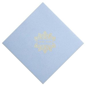 Add the perfect touch to your wedding bar or dessert table with this elegant Palm Mandala Diamond Linen Like cocktail napkin. Foil stamp your names within the design frame for a lovely, unique detail.
