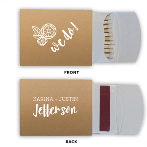 "Say ""We do"" to flawless personalized party accessories! Personalize this matchbox with the happy couple's names, and add to our modern Flower graphic and script text for a fun complement to your sparkler send off and a memorable custom wedding favor."