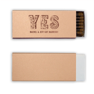 ForYourParty's elegant Rose Gold 30 Strike Matchbook with Shiny Merlot Foil has a Yes 2 graphic and is good for use in Words, Hearts, Wedding themed parties and can be customized to complement every last detail of your party.