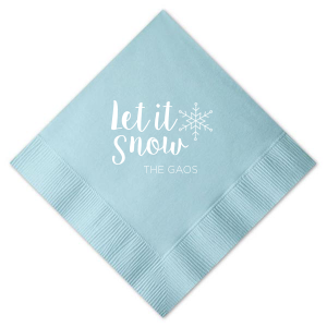 Our personalized Sky Blue Cocktail Napkin with Matte White Foil Color has a Snowflake graphic and is good for use in Holiday, New Years, Christmas themed parties and can be personalized to match your party's exact theme and tempo.