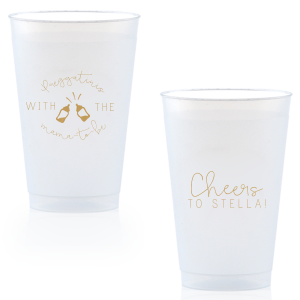 Personalized Gold Ink 9 oz Frost Flex Cup with Gold Ink Screen Print has a Baby Bottles graphic and is good for use in Baby Shower themed parties and couldn't be more perfect. It's time to show off your impeccable taste.