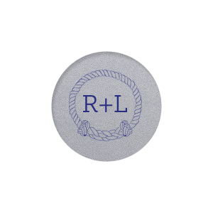 ForYourParty's elegant Classic Crest White Round Label with Matte Cobalt Ink Digital Print Colors has a Rope Frame graphic and is good for use in Nautical, Sea, Island themed parties and can be personalized to match your party's exact theme and tempo.
