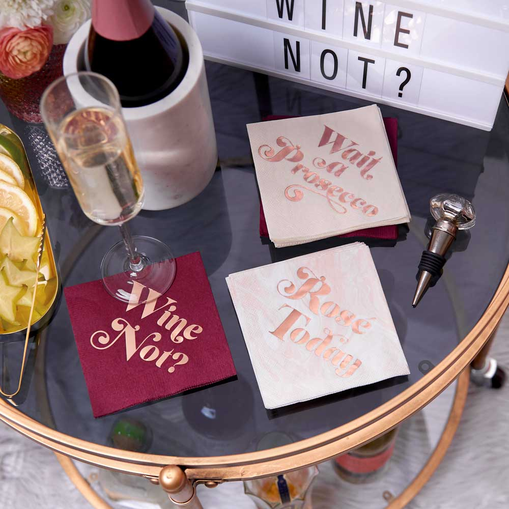 wine themed cocktail napkin set