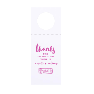 Our custom Natural Frost White Wine Hang Tag with Satin Fuchsia Foil Color has a Single Cork graphic and is good for use in Drinks themed parties and will add that special attention to detail that cannot be overlooked.