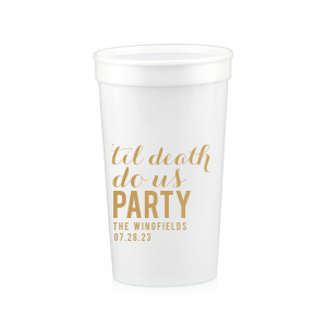 Our custom White 16 oz Stadium Cup with Gold Ink Cup Ink Colors will look fabulous with your unique touch. Your guests will agree!
