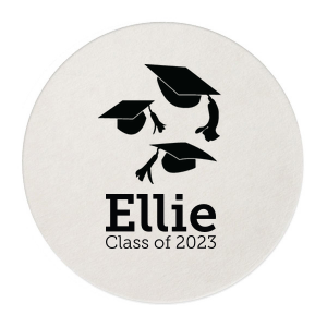 Custom White Round Coaster with Shiny Merlot Foil Color has a Caps Thrown graphic and is good for use in Graduation themed parties and will add that special attention to detail that cannot be overlooked.