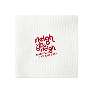 Our personalized Marble Gray Cocktail Napkin with Shiny Convertible Red Foil has a Sleigh Girl Sleigh graphic and is good for use in Christmas, Words, Holiday themed parties and will impress guests like no other. Make this party unforgettable.